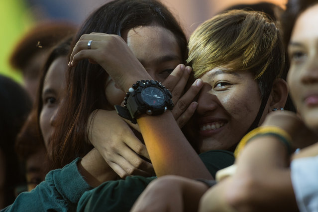 """This photo taken on January 28, 2018 shows people attending during the """"&Proud"""" LGBT festival in Yangon. (Photo by Ye Aung Thu/AFP Photo)"""