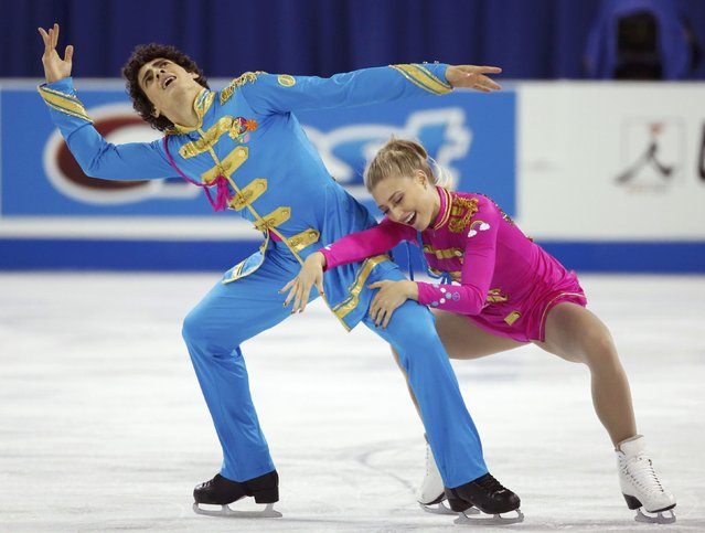 Piper Gilles and Paul Poirier of Canada perform during the ice dance short program at the Skate America figure skating competition in Milwaukee, Wisconsin October 23, 2015. (Photo by Lucy Nicholson/Reuters)