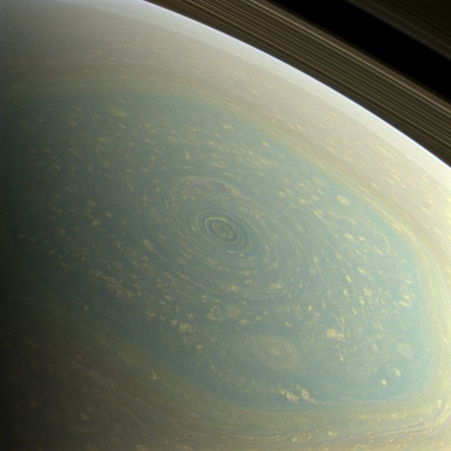 The north pole of Saturn, in the fresh light of spring, is revealed in this color image from NASA's Cassini spacecraft. (Photo by NASA/JPL-Caltech/SSI)