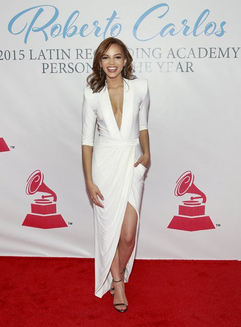 Music artist Leslie Grace arrives at the 2015 Latin Recording Academy Person of the Year Tribute to Roberto Carlos in Las Vegas, Nevada November 18, 2015. (Photo by Steve Marcus/Reuters)