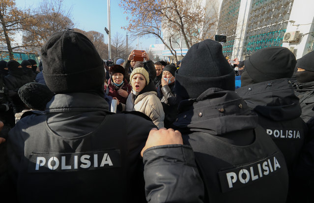 Opposition supporters rally on the day of Kazakhstan's parliamentary election in Almaty on January 10, 2021. (Photo by Petr Trotsenko/Radio Free Europe/Radio Liberty)
