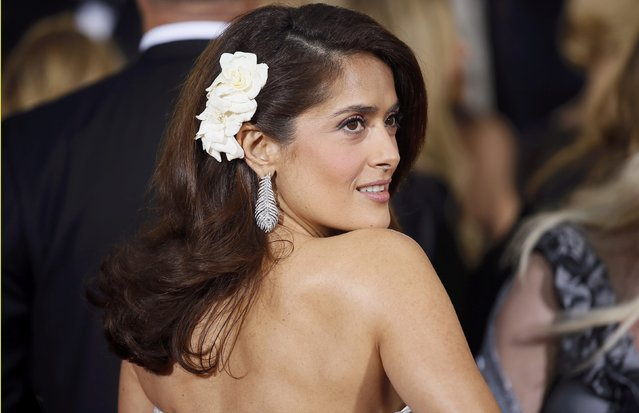 Actress Salma Hayek arrives at the 72nd Golden Globe Awards in Beverly Hills, California January 11, 2015. (Photo by Danny Moloshok/Reuters)