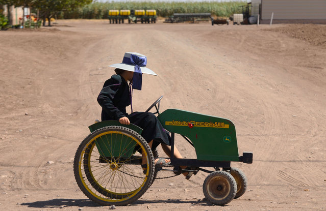 A Mennonite girl rides a quadricycle at a Mennonite community in the municipality of Ascencion, Chihuahua state, Mexico, on September 26, 2020. The arrival of electricity and motor vehicles is changing a Mennonite community living in isolation in the north of Mexico, which made some of its members leave. (Photo by Herika Martinez/AFP Photo)