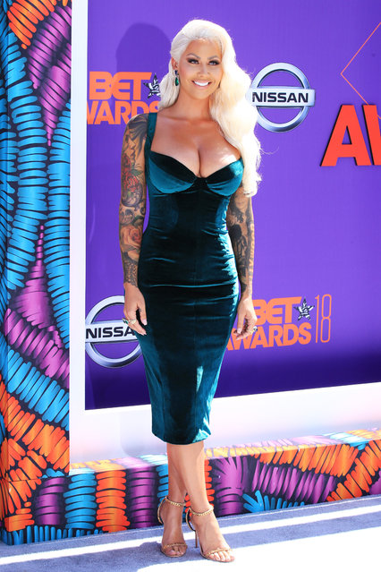 Amber Rose attends the 2018 BET Awards at Microsoft Theater on June 24, 2018 in Los Angeles, California. (Photo by Leon Bennett/Getty Images)
