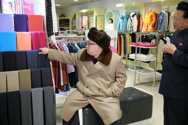 North Korean leader Kim Jong Un gives field guidance at the newly built Mirae Shop and Health Complex in this undated photo released by North Korea's Korean Central News Agency (KCNA) on March 28, 2016. (Photo by Reuters/KCNA)