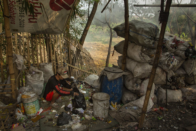 A man separates different kinds of plastic, which he will later sell, recycled from the Citarum river on August 27, 2018 outside Bandung, Java, Indonesia. (Photo by Ed Wray/Getty Images)