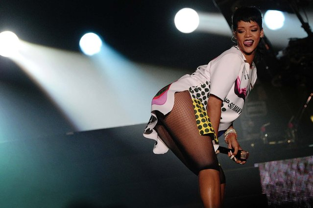 Rihanna performs on the sidelines of the Formula One Singapore Grand Prix race weekend in Singapore, on September 22, 2013. (Photo by Joseph Nair/Associated Press)