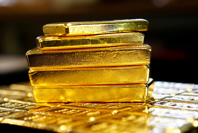 """Gold bars are seen at the Austrian Gold and Silver Separating Plant """"Oegussa"""" in Vienna, Austria, March 18, 2016. (Photo by Leonhard Foege/Reuters)"""