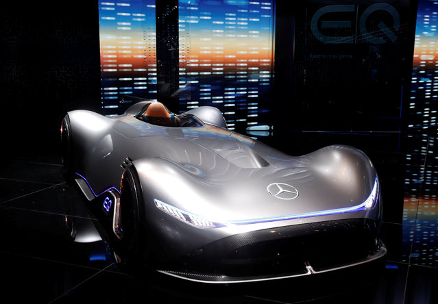 The Mercedes EQ Silver Arrow is on display at the Auto show in Paris, France, Tuesday, October 2, 2018, 2018. (Photo by Benoit Tessier/Reuters)