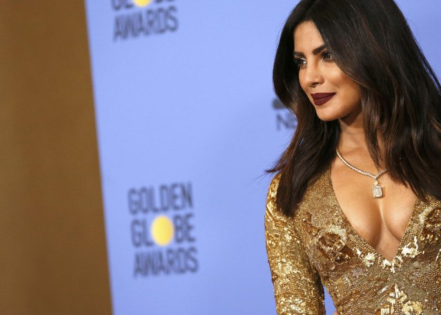 Actress Priyanka Chopra poses backstage after presenting an award during the 74th Annual Golden Globe Awards in Beverly Hills, California, U.S., January 8, 2017. (Photo by Mario Anzuoni/Reuters)