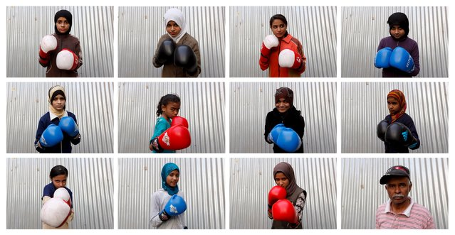 A combination photo shows students of coach Younus Qambrani posing with their boxing gloves at the first women's boxing coaching camp in Pak Shaheen Boxing Club in Karachi, Pakistan, February 20, 2016. (Photo by Akhtar Soomro/Reuters)