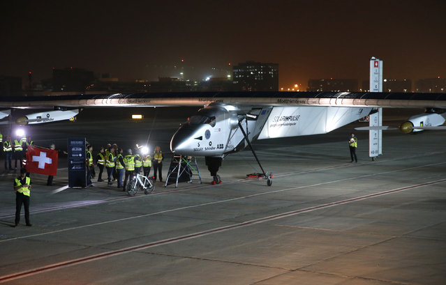 The Solar Impulse 2 prepares to take off at Al Bateen airport in Abu Dhabi, March 9, 2015. (Photo by Ahmed Jadallah/Reuters)
