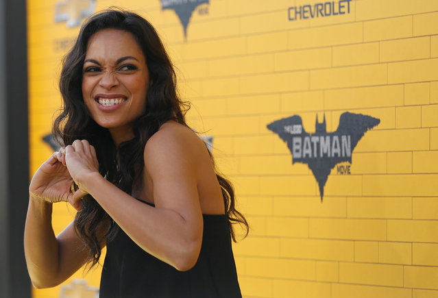 "Cast member Rosario Dawson poses at the premiere of the movie ""The LEGO Batman Movie"" in Los Angeles, California, U.S., February 4, 2017. (Photo by Mario Anzuoni/Reuters)"