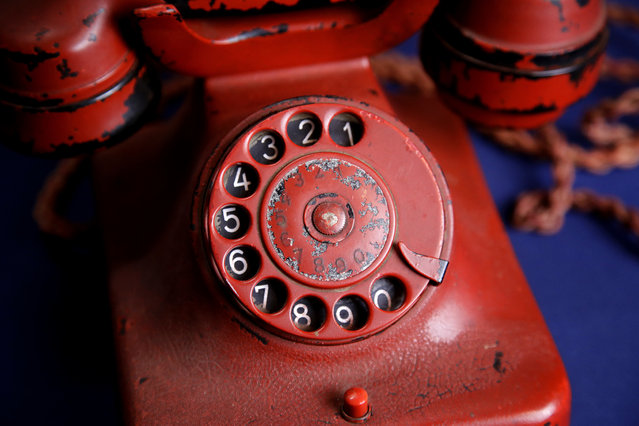 Adolf Hitler's personal traveling telephone is displayed at Alexander Historical Auctions in Chesapeake City, Md., Friday, February 17, 2017. (Photo by Patrick Semansky/AP Photo)