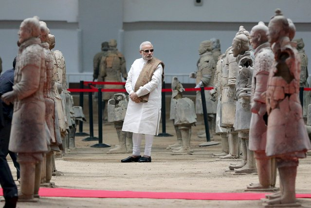 Indian Prime Minister Narendra Modi visits the Museum of Qin Terracotta Warriors and Horses, in Xian, Shaanxi province, China, May 14, 2015. (Photo by Reuters/China Daily)