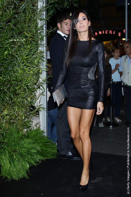 Elisabetta Gregoraci attends the Philipp Plein Urban Jungle Spring/Summer 2012 fashion show as part Milan Womenswear Fashion Week