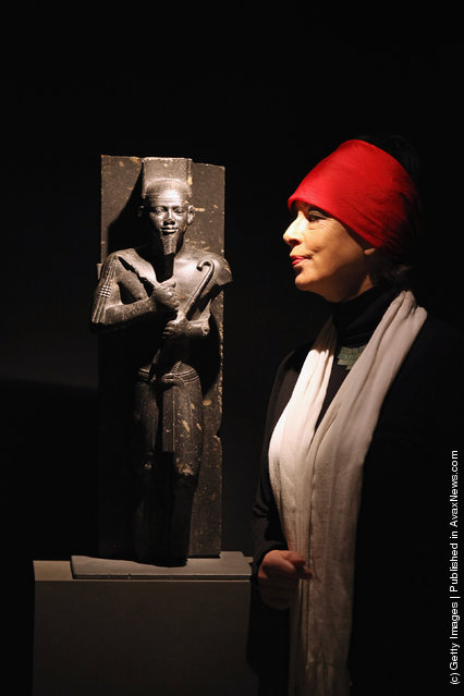 Sue Goddard views a statue of King Taharqa in the Shrine of Taharqa in the Ashmolean Museum's new exhibition of artifacts