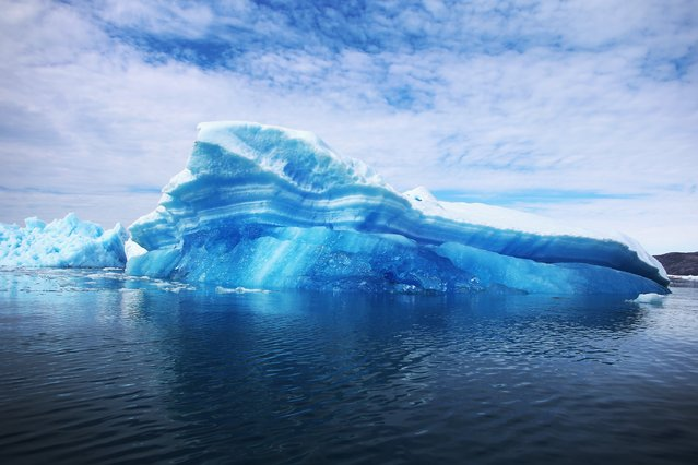 Calved icebergs from the nearby Twin Glaciers are seen floating on the water on July 30, 2013 in Qaqortoq, Greenland. Boats are a crucial mode of transportation in the country that has few roads. (Photo by Joe Raedle/Getty Images)