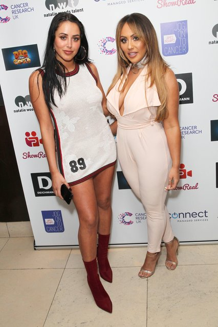 Marnie Simpson and Sophie Kasaei attend James Ingham's Jog-On to Cancer part 5 at Kensington Roof Gardens on April 12, 2017 in London, England. (Photo by Fame Flynet)
