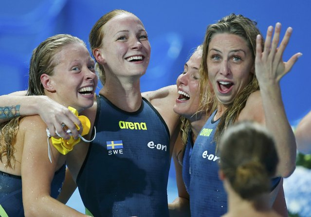 Sweden's relay team celebrate after finishing second the women's 4x100m medley relay final at the Aquatics World Championships in Kazan, Russia, August 9, 2015. (Photo by Michael Dalder/Reuters)