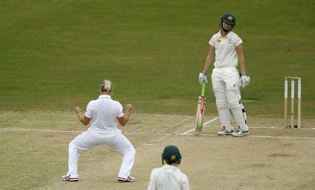 Cricket, England vs Australia, Women's Ashes Series 2015, Kia Women's Ashes Test, The Spitfire Ground, Canterbury on August 12, 2015: England's Katherine Brunt celebrates taking the wicket of Australia's Jess Jonassen (R). (Photo by  Peter Cziborra/Reuters/Action Images)