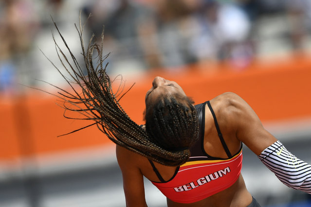 Belgium's Nafissatou Thiam competes in the Women's High Jump qualification round during the European Athletics Championships at the Olympic stadium in Amsterdam on July 6, 2016. (Photo by Fabrice Coffrini/AFP Photo)