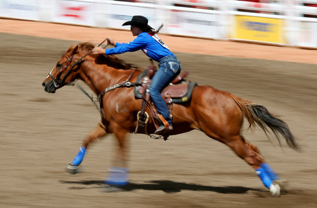 Ivy Conrado of Hudson, Colorado, races in the barrel racing event during the Calgary Stampede rodeo in Calgary, Alberta, Canada July 8, 2016. (Photo by Todd Korol/Reuters)