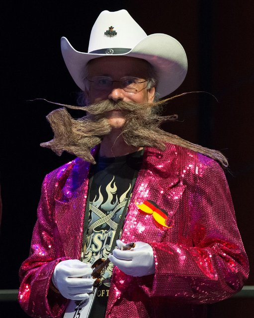 Competitor Jürgen Burkhardt attends the 2017 Remington Beard Boss World Beard & Moustache Championships held at the Long Center for the Performing Arts on September 3, 2017 in Austin, Texas. (Photo by Suzanne Cordeiro/AFP Photo)