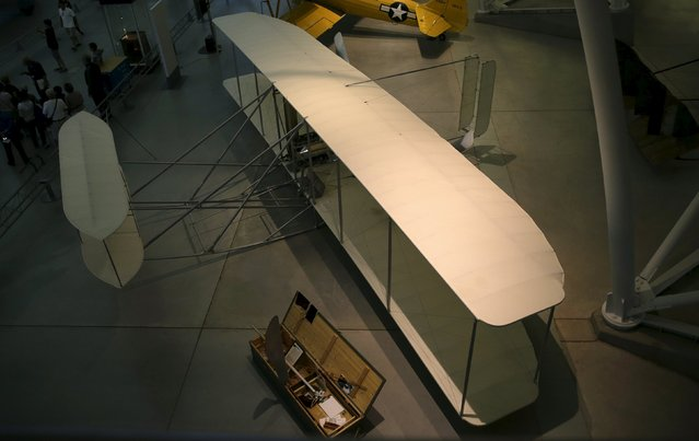 A replica of the Wright Brothers Model B aircraft is seen on display at the Udvar-Hazy Smithsonian National Air and Space Annex Museum in Chantilly, Virginia August 28, 2015. (Photo by Gary Cameron/Reuters)