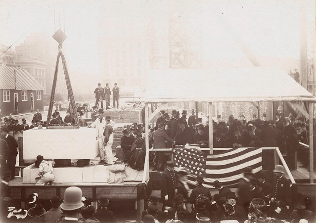 The cornerstone ceremony for the central building of the New York Public Library, 1902. (Photo by New York Public Library)