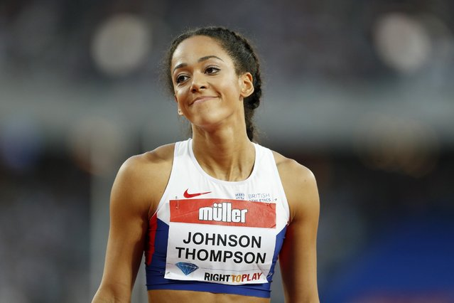 Britain Athletics, 2016 London Anniversary Games, Queen Elizabeth Olympic Park, Stratford, London on July 22, 2016. Great Britain's Katarina Johnson-Thompson reacts during the Women's High Jump. (Photo by John Sibley/Reuters/Action Images/Livepic)