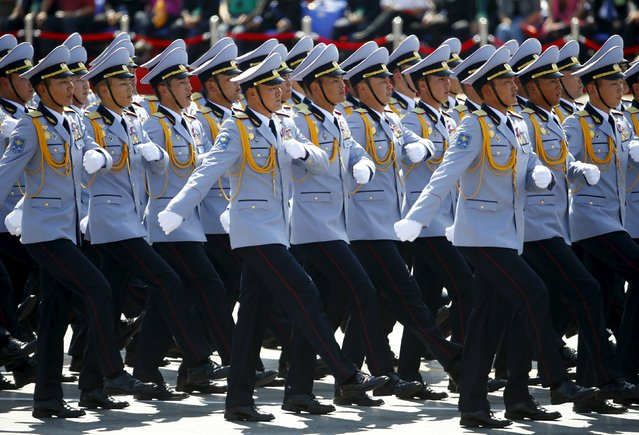 Mongolian soldiers march during the military parade marking the 70th anniversary of the end of World War Two, in Beijing, China, September 3, 2015. (Photo by Damir Sagolj/Reuters)
