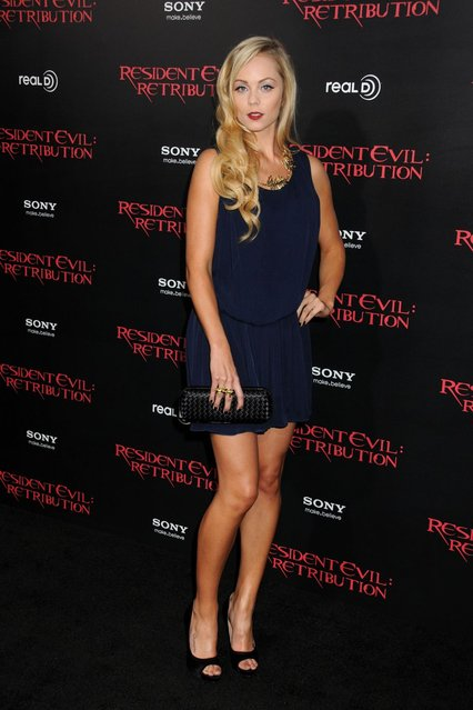 "Actress Laura Vandervoort attends the premiere of ""Resident Evil: Retribution"" at Regal Cinemas L.A. Live on September 12, 2012 in Los Angeles, California. (Photo by Jason LaVeris/FilmMagic)"