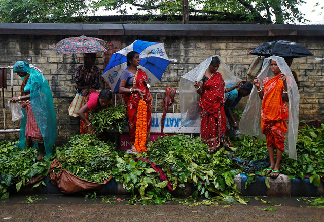Vendors wait for customers as they sell leaves, which will be used for worshipping in temples and homes, during rain in Kolkata, November 15, 2017. (Photo by Rupak De Chowdhuri/Reuters)