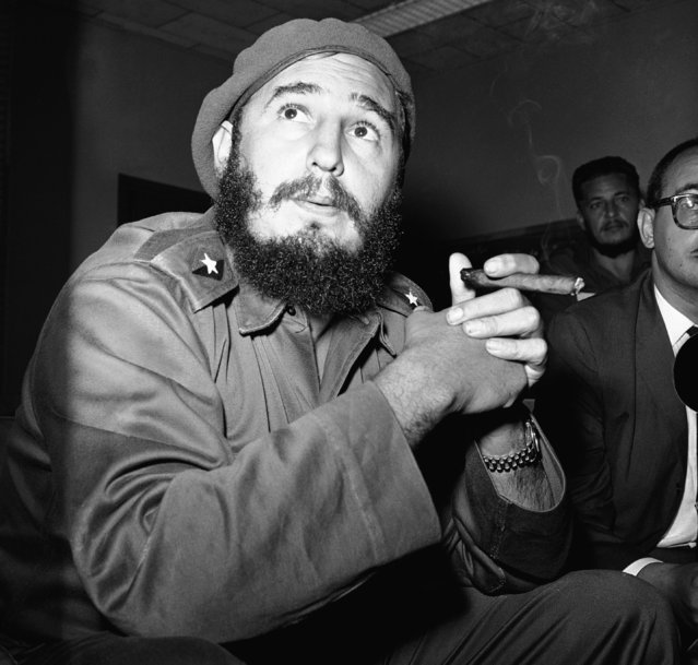 Prime Minister Fidel Castro presented this study as he said that the current negotiations of tractors for prisoners are useful. Castro was photographed at a press conference on June 14, 1961 in Havana. (Photo by AP Photo/RHS)