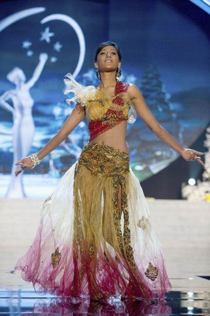 Miss Mauritius Ameeksha Dilchand performs onstage at the 2012 Miss Universe National Costume Show on Friday, December 14, 2012 at PH Live in Las Vegas, Nevada. The 89 Miss Universe Contestants will compete for the Diamond Nexus Crown on December 19, 2012. (Photo by AP Photo/Miss Universe Organization L.P., LLLP)