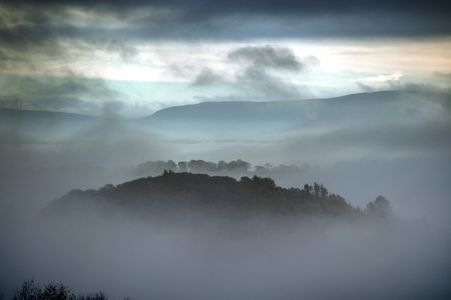 A temperature inversion over Aberfoyle looking towards the Fintry Hills on November 8, 2017 in Aberfoyle, Scotland. Temperatures across the UK have started to fall this week with many places experiencing frost, and a minus 6C recorded in Braemar in Aberdeenshire. (Photo by Jeff J Mitchell/Getty Images)