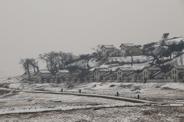 A view from the train window from Beijing to North Korea in February 2013, in Pyongyang, North Korea. (Photo by Andrew Macleod/Barcroft Media)