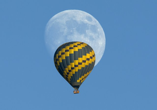 A hot air balloon floats past an almost full rising moon on a warm fall evening near Encinitas, California October 5, 2014. (Photo by Mike Blake/Reuters)