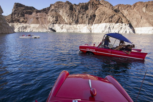 A 1965 Amphicar (L) driven by Dean Baker of Lake Havasu, Arizona, and a 1963 Amphicar, driven by Rob Vondracek of Fountain Hills, Arizona, float in Lake Mead near Hoover Dam during the first Las Vegas Amphicar Swim-in near Las Vegas, Nevada October 9, 2015. (Photo by Steve Marcus/Reuters)