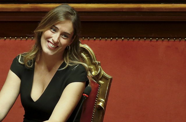 Italy's Minister for Constitutional Reforms and Parliamentary Relations Maria Elena Boschi reacts during a debate at the Italian Senate in Rome October 13, 2015. The Italian Senate voted on Tuesday to curtail its powers in a victory for Prime Minister Matteo Renzi, who has overcome determined opposition to push through the reform that he says will make the country more governable. (Photo by Remo Casilli/Reuters)