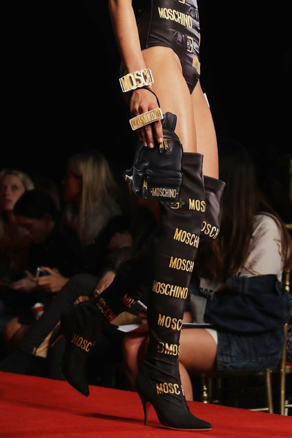 A model walks the runway at the Moschino show during Milan Fashion Week Spring/Summer 2017 on September 22, 2016 in Milan, Italy. (Photo by Vittorio Zunino Celotto/Getty Images)