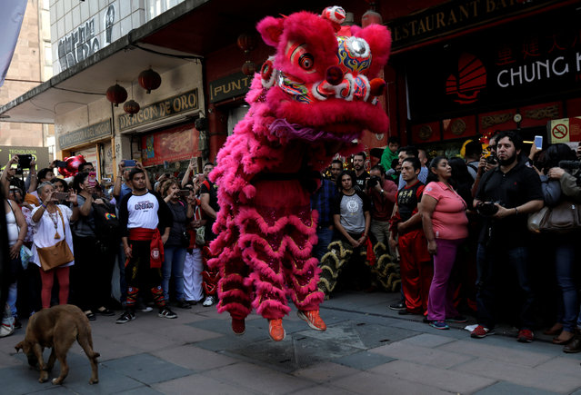 Members of Mexico City's Chinese community perform the lion dance in Mexico City, Mexico February 15, 2018. (Photo by Henry Romero/Reuters)