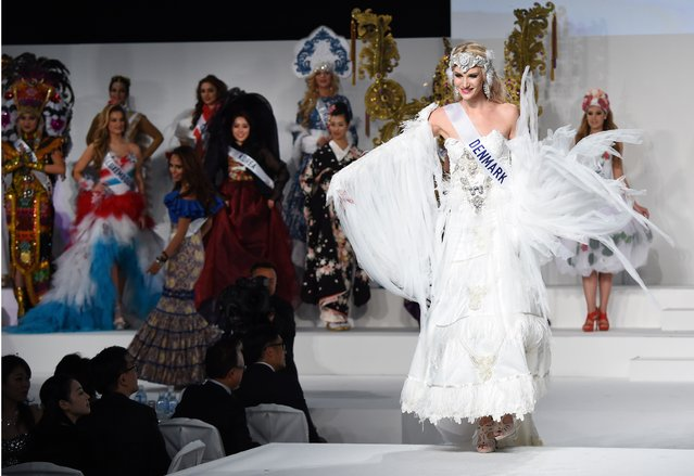 Miss Denmark Mette Riis Sorensen (R) displays her national costume during the Miss International beauty pageant in Tokyo on November 5, 2015. (Photo by Toru Yamanaka/AFP Photo)