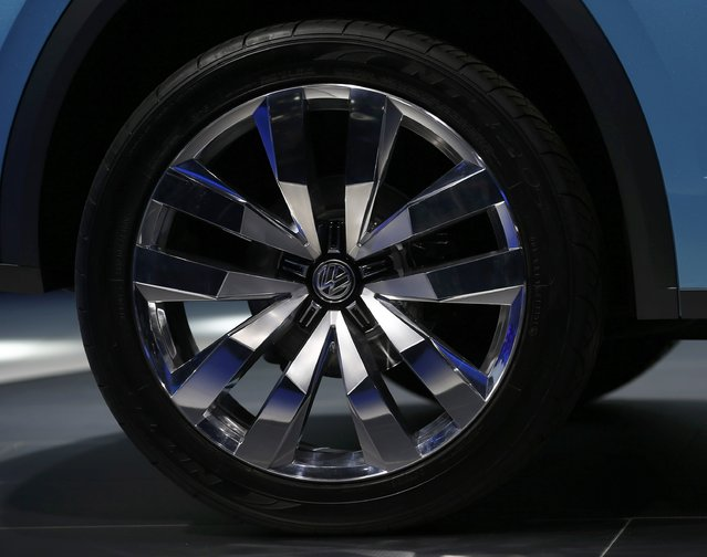 Detail view of a wheel on the Volkswagen Cross Coupe GTE concept vehicle as it is displayed during the first press preview day of the North American International Auto Show in Detroit, Michigan, January 12, 2015. (Photo by Mark Blinch/Reuters)