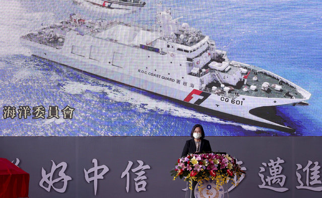 Taiwan's President Tsai Ing-wen speaks during a delivery and launching ceremony of domestically built warships at the Jong Shyn Shipbuilding Corp's shipyards in Kaohsiung, southern of Taiwan, Friday, December 11, 2020. (Photo by Chiang Ying-ying/AP Photo)