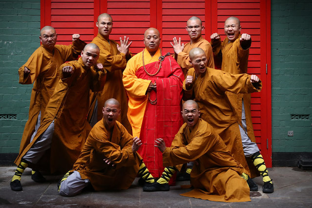 Shaolin monks pose for a photograph in Chinatown on February 23, 2015 in London, England. (Photo by Carl Court/Getty Images)