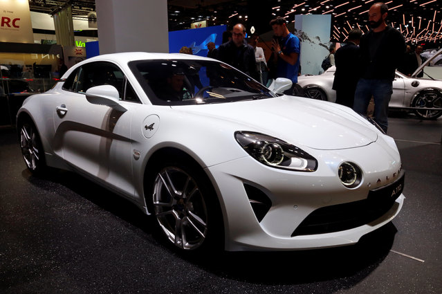 The Alpine A110 is on display at the Auto show in Paris, France, Tuesday, October 2, 2018, 2018. (Photo by Regis Duvignau/Reuters)