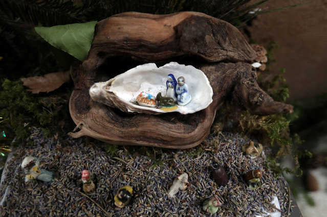 A Nativity scene made in a oyster shell is seen in the streets and alleys in the medieval mountain village of Luceram as part of Christmas holiday season, France, December 15, 2016. (Photo by Eric Gaillard/Reuters)
