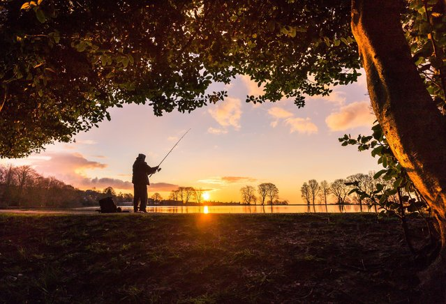 Fisherman at sunset, March 30, 2016. (Photo by Dave Zdanowicz/Rex Features/Shutterstock)